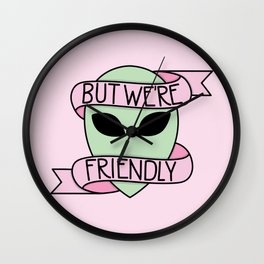 We Are Friendly (Pink) Wall Clock