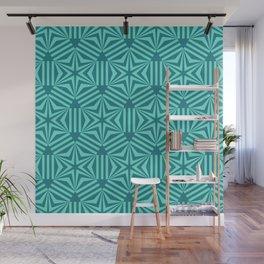 Cyan geometric hexagon stars op art Wall Mural