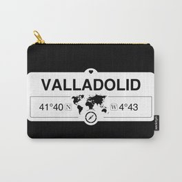 Valladolid Castile and León with World Map GPS Coordinates Carry-All Pouch