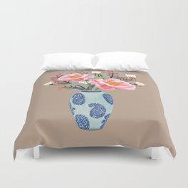 Vase illustration, flower, floral, blossom print Duvet Cover