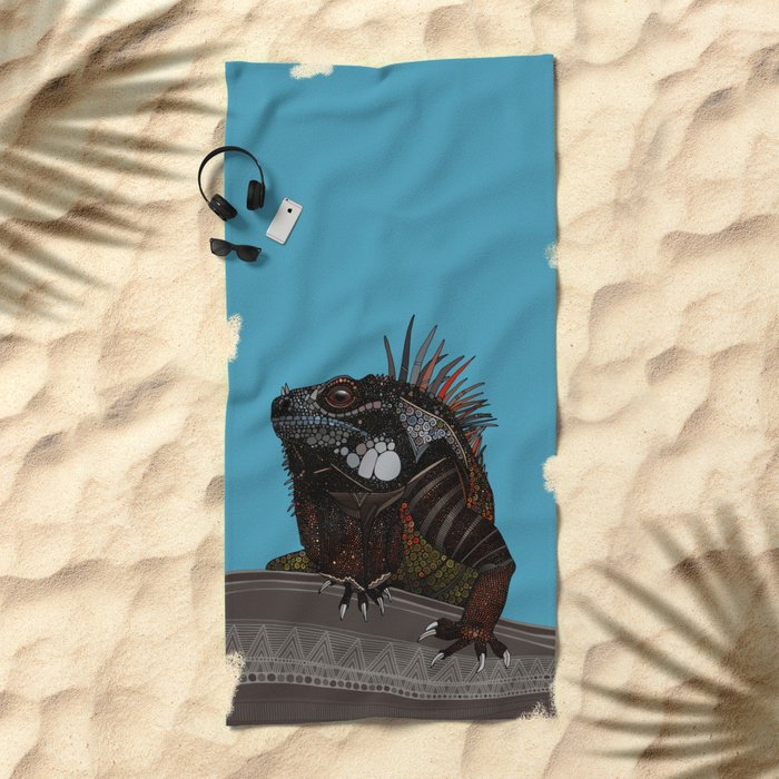 iguana blue Beach Towel