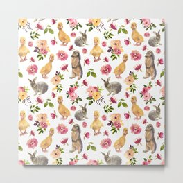 Cute ducks and rabbits with flowers Metal Print