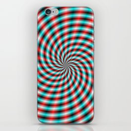 Turquoise and Red Spiral Rays iPhone Skin