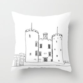 Castle by the Rock Throw Pillow