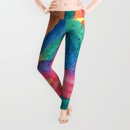 Facing Colors: Abstract Rainbow Painting Leggings