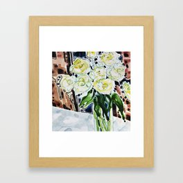 Roses Blanches Framed Art Print