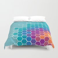 honeycomb Duvet Covers featuring Honeycomb by AleyshaKate