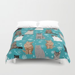 Cat breeds snowflakes winter cuddles with kittens cat lover essential cat gifts Duvet Cover