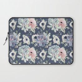 Beautiful Succulent Garden Navy Blue + Pink Laptop Sleeve