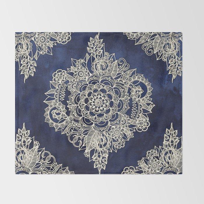 Cream Floral Moroccan Pattern on Deep Indigo Ink Throw Blanket