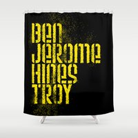 caleb troy Shower Curtains featuring Ben Jerome Hines Troy / Black by Brian Walker