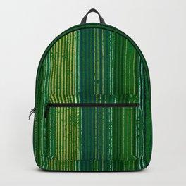 Green Vertical Stripes Japanese Shima-Shima Pattern Backpack