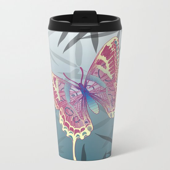 Unique Butterfly Bamboo leaves Pattern Metal Travel Mug