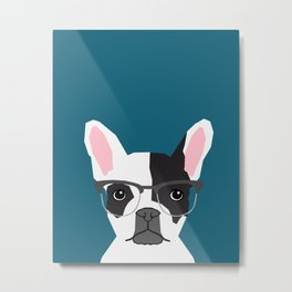 Hadley  - French Bulldog wearing hipster glasses perfect for dog lovers and owners, dog people Metal Print