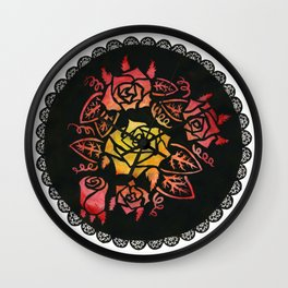 Hand Painted Watercolor Lacey Roses Wall Clock