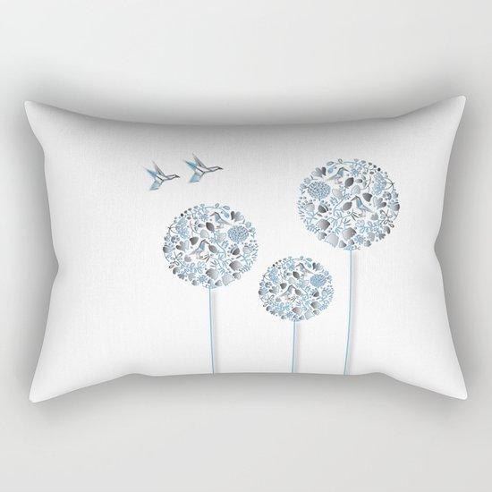 Blue Trees With Birds Rectangular Pillow