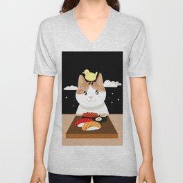 Sushi Eating Cat & Bird Unisex V-Neck