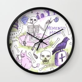 memento mori horror pattern Wall Clock