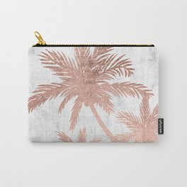 Tropical simple rose gold palm trees white marble Carry-All Pouch