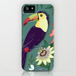 Toucan and Passion Flowers iPhone Case