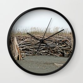 Driftwood Wind Shelter Wall Clock