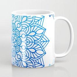 Organic Simplicity: Ocean Blue Mandalas on White Cotton Sheets Coffee Mug