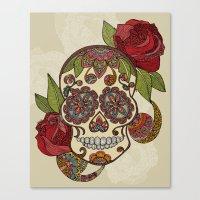 sugar skull Canvas Prints featuring Sugar Skull by Valentina Harper