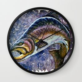 Vintage Blue Trout Fresco Wall Clock