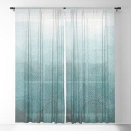Sunrise in the mountains, dawn, teal, abstract watercolor Sheer Curtain