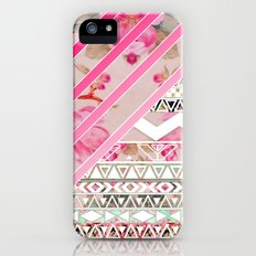 Girly Pink Stripes Floral Abstract Aztec Pattern Slim Case iPhone (5, 5s)