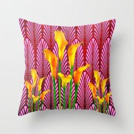 GOLDEN CALLA LILIES & RED ART DECO ART Throw Pillow