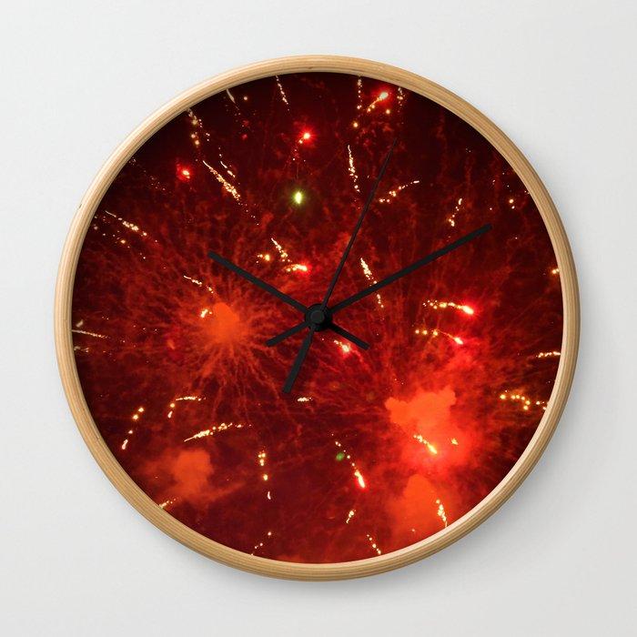 Red Fireworks Wall Clock