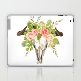 Bohemian bull skull and antlers with flowers Laptop & iPad Skin