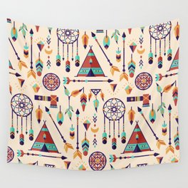 Aztec Tribal Seamless Pattern wiht Dreamcatcher and Arrows Wall Tapestry