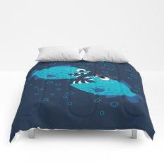Gossiping Blue Piranha Fish Comforters