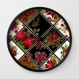Floral folk patchwork. Ethnic Wall Clock