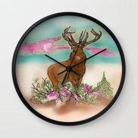 elk Wall Clocks featuring Elk by Hollyce Jeffriess Designs