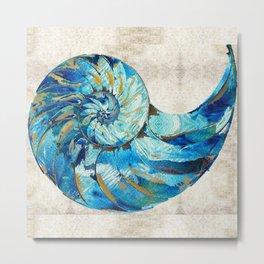 Tropical Blue Beach Art - Nautilus Shell Bleu 2 - Sharon Cummings Metal Print