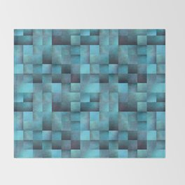 Tiled Pattern Shades Of Blue Throw Blanket