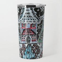 Christmas Snow Village on Black Travel Mug