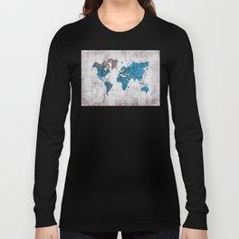world map 96 blue #worldmap #map Long Sleeve T-shirt