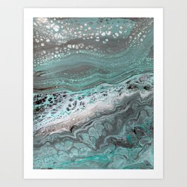 Teal Flow Abstract Acrylic Painting Art Print