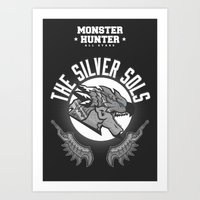 monster hunter Art Prints featuring Monster Hunter All Stars - The Silver Sols by Bleached ink