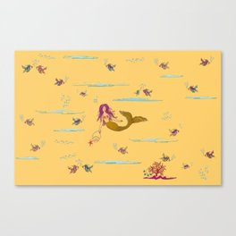 Fashionable mermaid - yellow-orange Canvas Print
