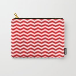 Red and White Christmas Wavy Chevron Stripes Carry-All Pouch