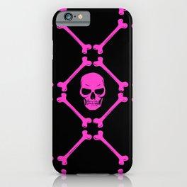 Skulls and bones hot pink on black iPhone Case