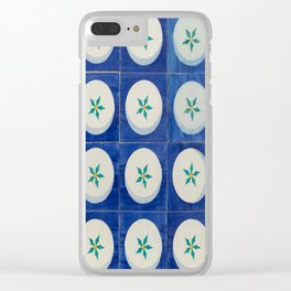 Blue squares green leaves Clear iPhone Case