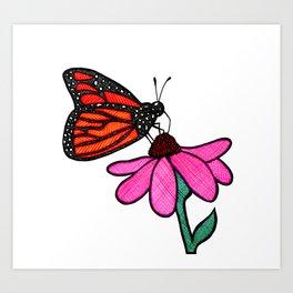 Cross-Hatch Monarch Art Print