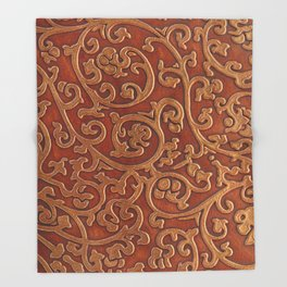 Golden Reddish Brown Tooled Leather Throw Blanket