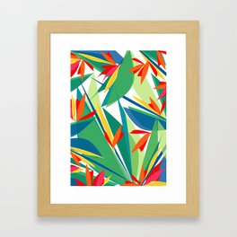 Tropical floral composition, exotic flowers, birds of paradise. Framed Art Print
